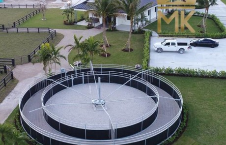 Round Fence enclosure over prefab radial curbs