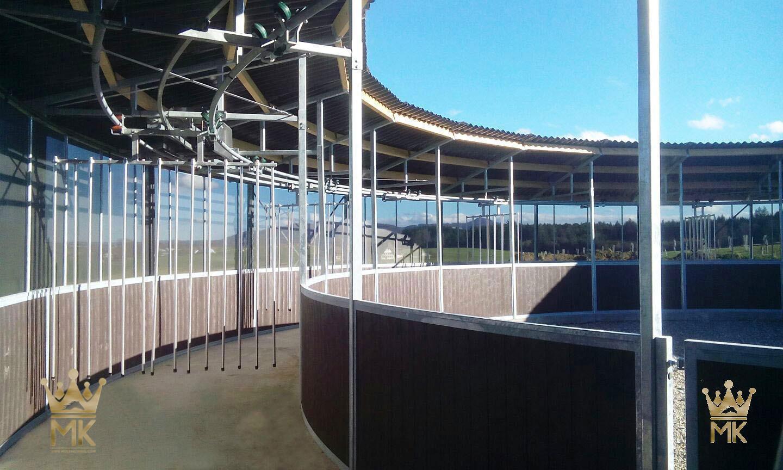 Oval skrittemaskin med tak over sporet