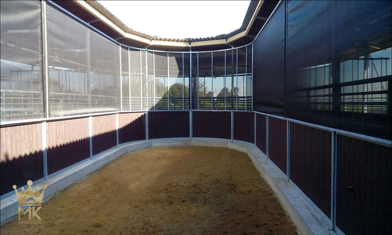 Empty space for storage of the rail-gliding horsewalker