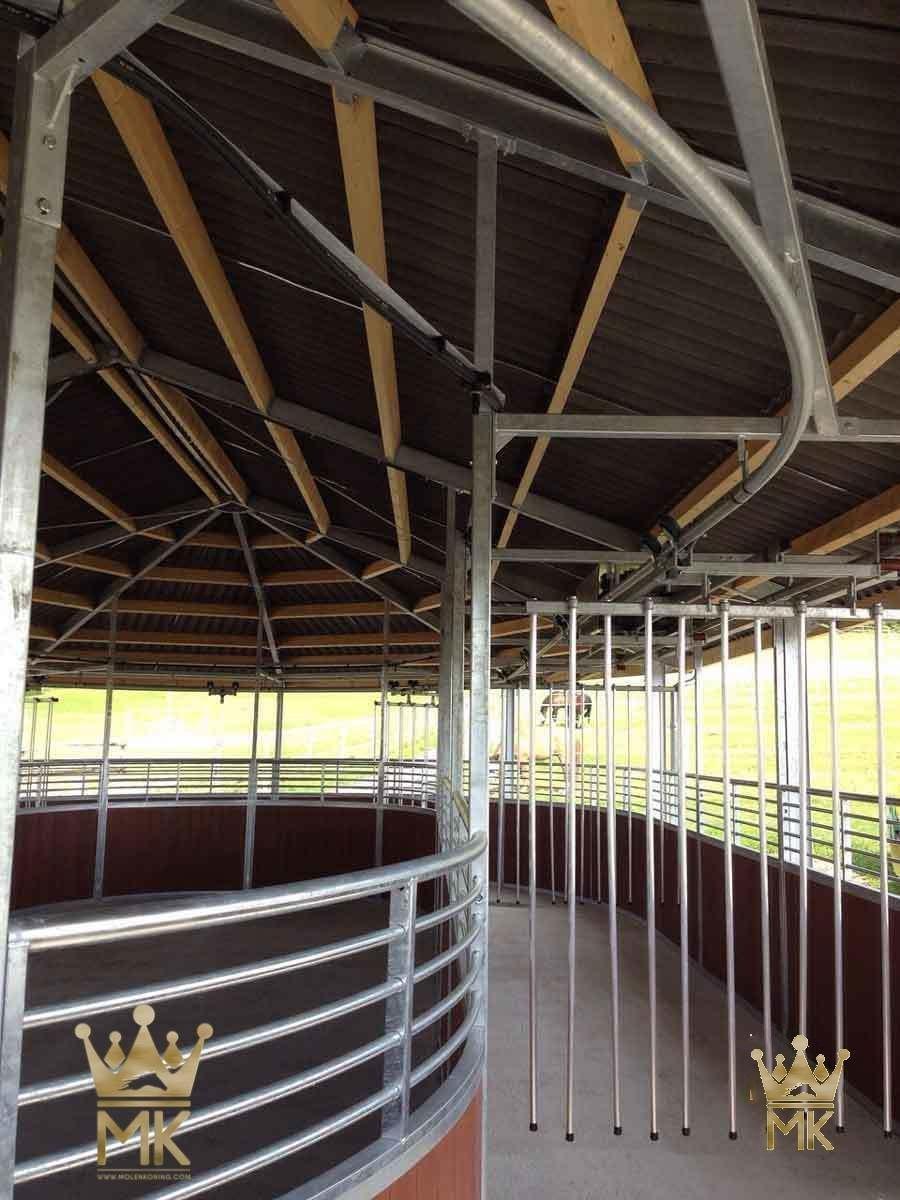Rail gliding hestetrenemaskin med tett tak