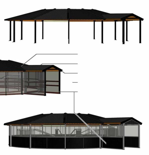 3D tekening van een gesloten ingang voor een overkapping voor paarden van Molenkoning