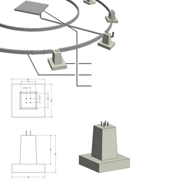 Rysunek 3D prefabrykowanych części fundamentów
