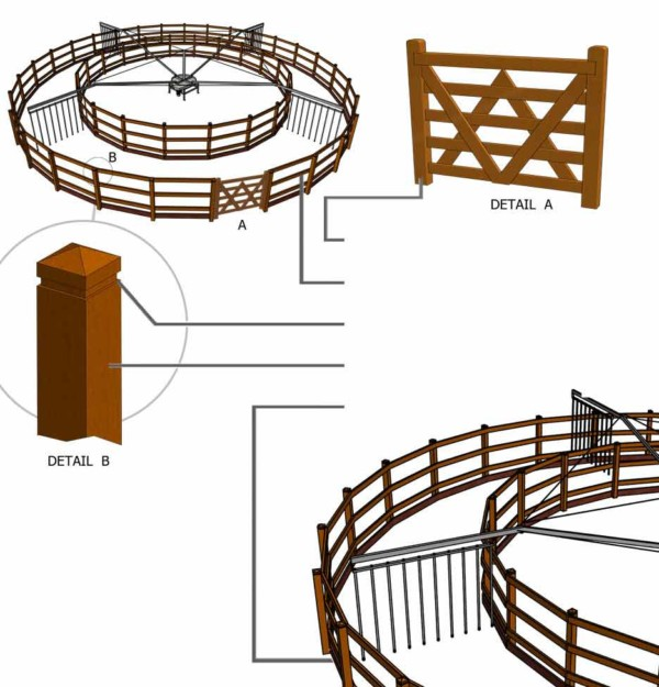 Illustrazione 3D del recinto del Molenkoning tipo Royal Fence
