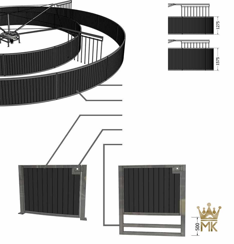 3D ontwerp van ronde omheining