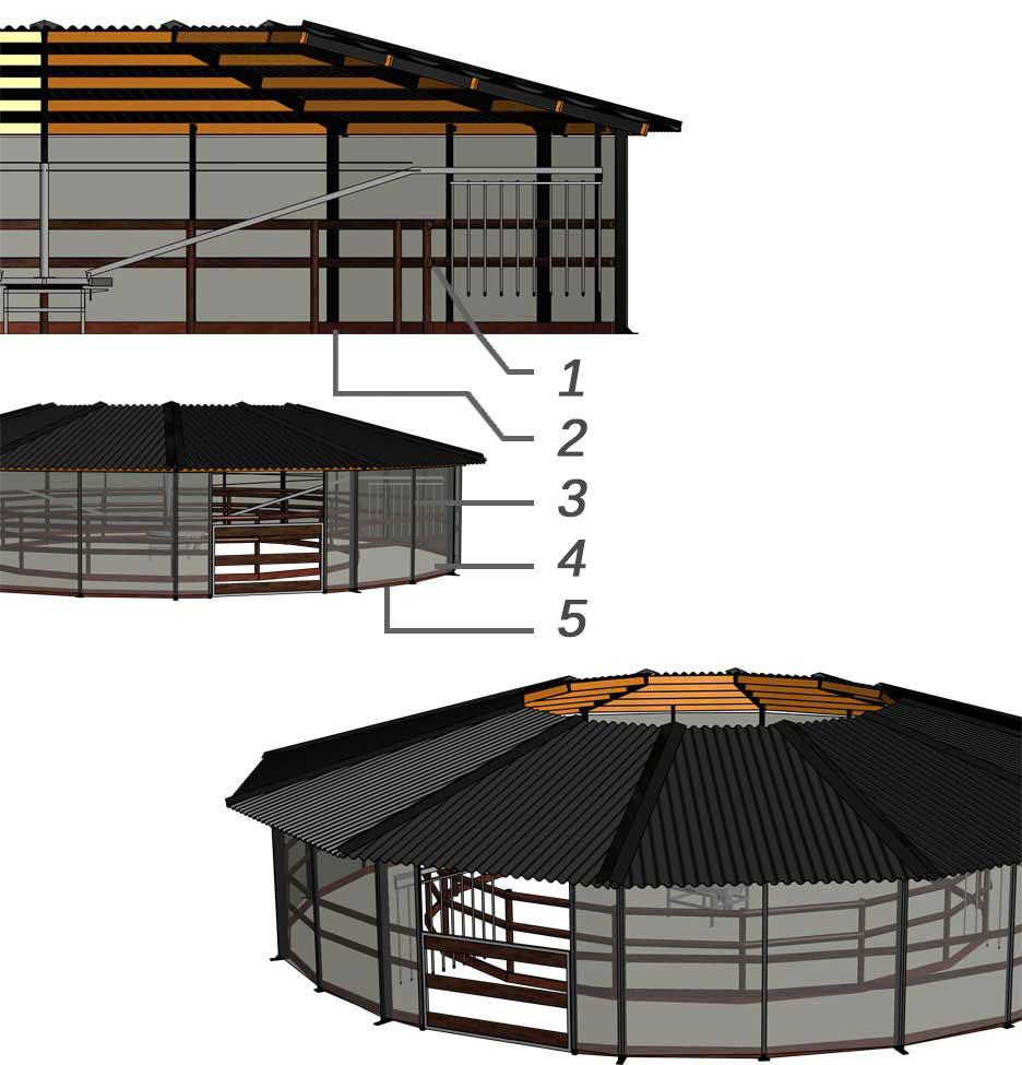 3D-Ansicht der Komfort-Hufschlagüberdachung