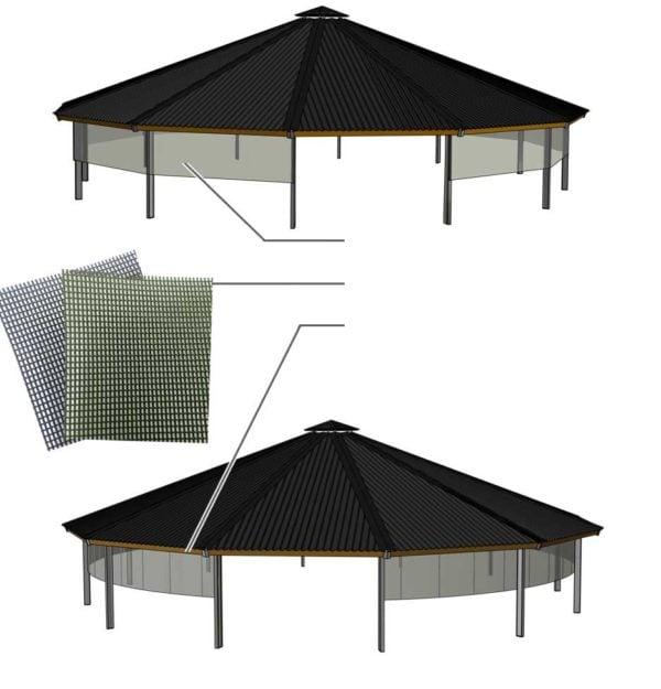 Diseño 3D de la red de cortavientos